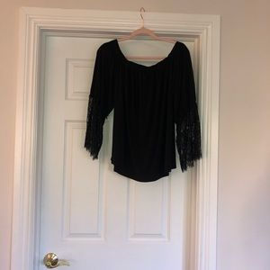 NWT black off shoulder top with lace bell sleeves